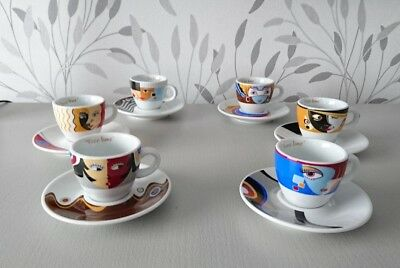 Superbe lot ensemble de 6 Tasses à café expresso + soucoupes FREE TIME NEUVES