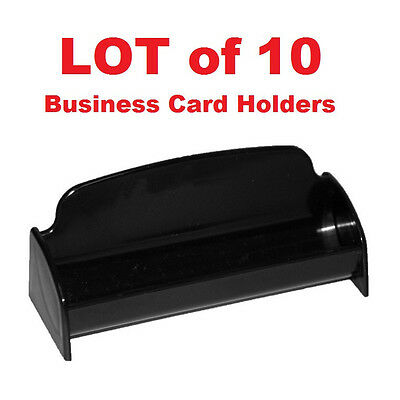 LOT of 10 - Business Card Holder Desktop Display Black Recycled Plastic USA
