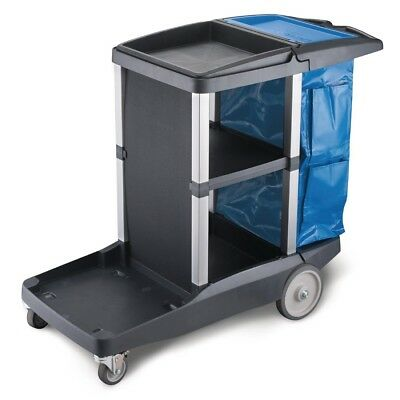 Oates Platinum Janitors Cleaning Cart Recycling Trolley Plastic Construction