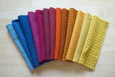 HAND DYED RUG HOOKING WOOL Blue - Pink - Orange - Yellow tones by Quilting Acres