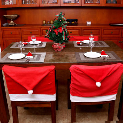 4PCS Christmas Santa Clause Hat Dining Chair Back Covers Xmas Table Decorations
