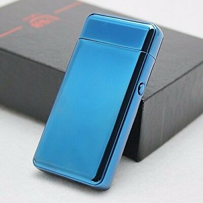 Blue Dual Arc Electric USB Lighter Rechargeable Flameless Windproof Tesla Plasma