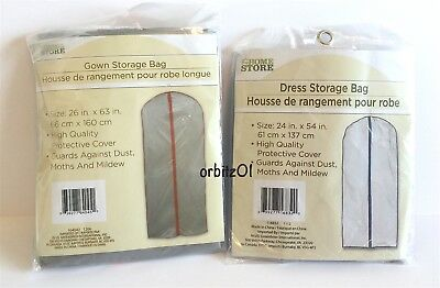 The Home Store 2 Gown & Dress Storage Zipper Bags Gray Red Blue Garment Clothes