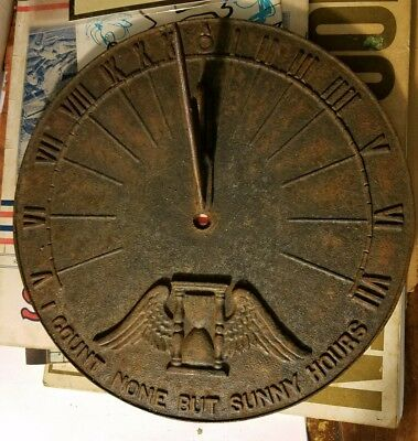 Antique Virginia Metal Crafters Sundial 1910s 'Count None But Sunny Hours'