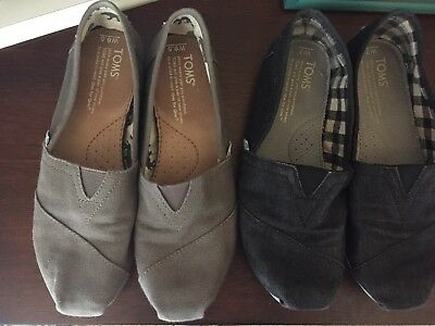 Lot Of 2 Women' Tom's Shoes Black And Gray Size 6.5-7!!