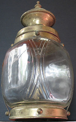 Antique - Old Estate Find - Glass And Metal Lantern Shaped Decor Salvage