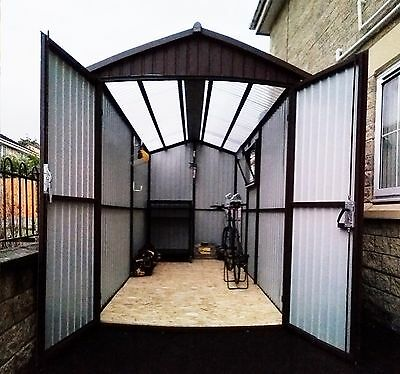 Clear Roof 6x14ft Garden Bike Shed or Motorbike Garage Any Size with Plastic Cap