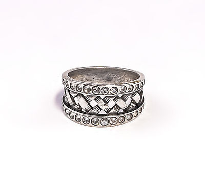 Silver 925 Ring with Swarovski Stones Big 51 braided a9-01361