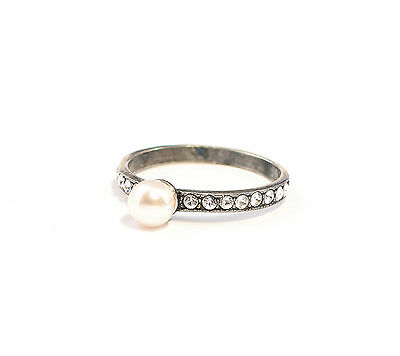 Silver 925 Ring with Swarovski Stones & Pearl Big 53 delicate a9-01363