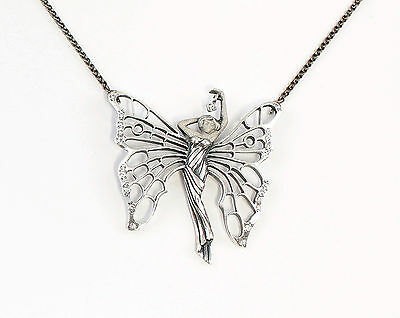 925 Silver Collier Butterfly wife / Fairy with Swarovski Stones a8-01692