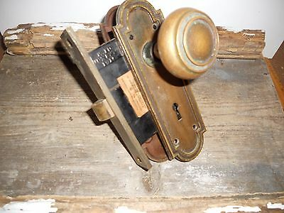 Vtg Aged Patina Heavy Corbin Cast Brass Door Knobs/back Plates/rhc Mortise Lock