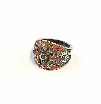 925 Silver enamelled Ring with Onyx Big 58 blumenmuster orange pink a8-01411