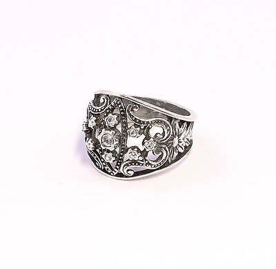 925 silver Ring with Swarovski Stones Big 54 blumenmuster a8-01351