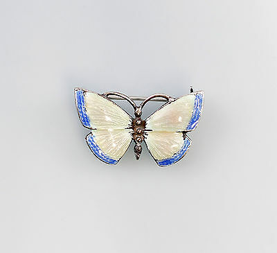 925 Silver enamelled Brooch Butterfly Art Nouveau-Art blue pink a8-01289