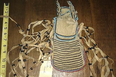 Antique Early 19th C.1818 ID Lesotho AFRICAN Tribal Glass Bead Item Bag Pouch