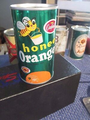 Rare 1969 Fan Mouth Var. Canfield Honee Orange Steel Soda Can ** Chicago Ill **