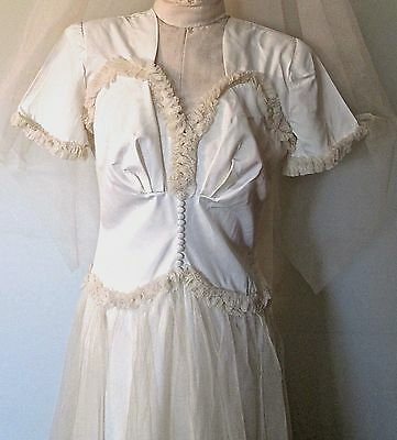 vintage 1940s wedding gown+original veil+headpiece+slip: excellent condition