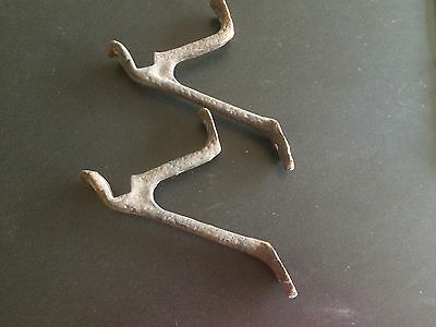 Lot of 2 Vintage Metal Bracket HANGER HOOKS Curtain Shelf  Hardware Brackets