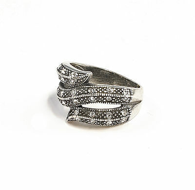 Silver 925 Ring with Swarovski Stones Big 54 curved a1-01348