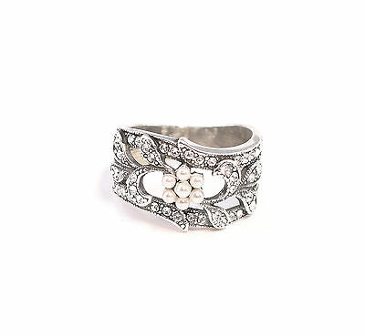 Silver 925 Ring with Swarovski Stones & beads Big 55 floral design a1-01364