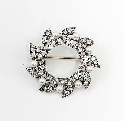 Silver 925 Floral Brooch with Swarovski Stones & synth. Pearls a1-01519