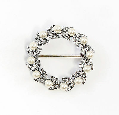 Silver 925 Floral Brooch with Swarovski Stones & synth. Pearls a1-01518