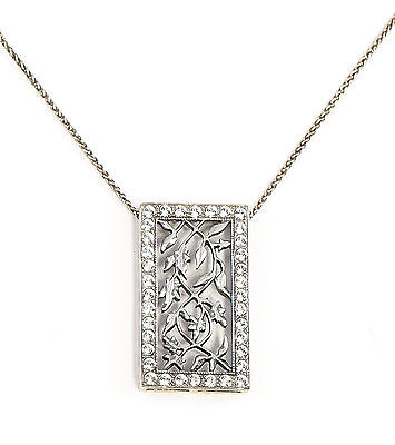 Silver 925 floral Art Nouveau Pendant on chain with Swarovski Stones a1-01647