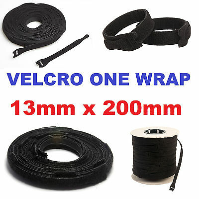 100 X VELCRO BRAND® ONE WRAP CABLE TIES HOOK & LOOP STRAP BLACK 13mm x 200mm