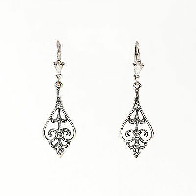 Silver 925 Earrings with Swarovski Stones floral design a1-01464