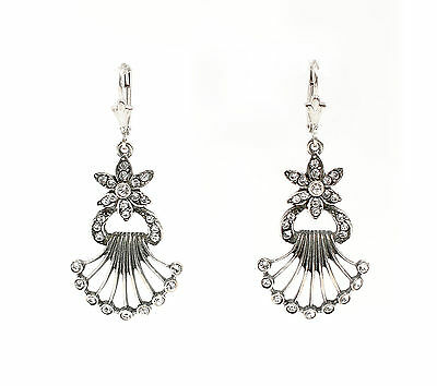 Silver 925 Earrings with Swarovski Stones floral design a1-01458