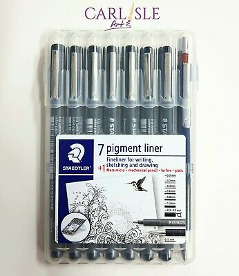 Staedtler Pigment Liner Set 7 Fineliners Plus 1 Mars Micro Mechanical Pencil