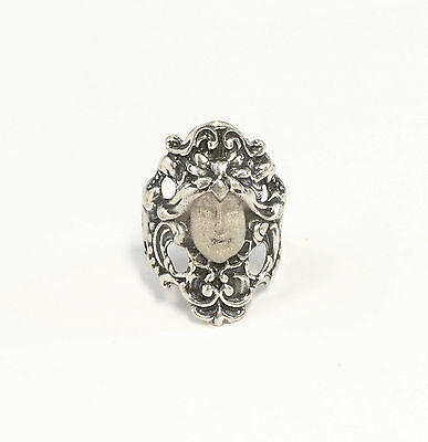 Silver 925 Art Nouveau-Ring Face / Antlitz Big 55 floral design a1-01426