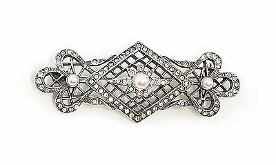 Silver 925 Art Nouveau brooch with Swarovski Stones & synth. Pearls a1-01622