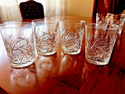 Four ABP Cut Glass Tumblers Pinwheel & Fan Cuttings