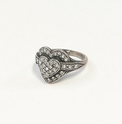 Silver 925 Ring with Swarovski Stones Big 52 Heart a9-01407