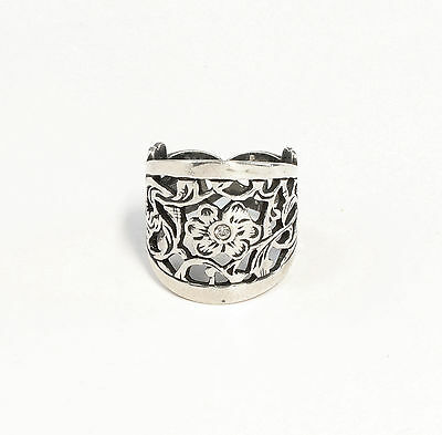 Silver 925 floral Ring with Swarovski Stones Big 51 a9-01413