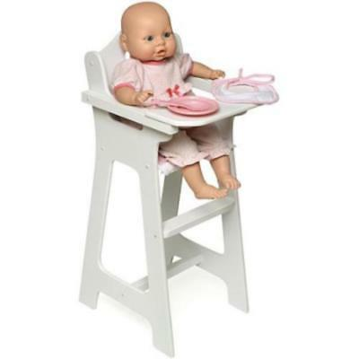 Baby Doll High Chair Preschool Pretend Play w Plate Bib Spoon White Wood