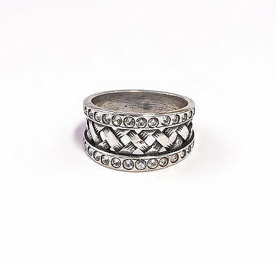 Silver 925 Ring with Swarovski Stones Big 51 braided a2-01361
