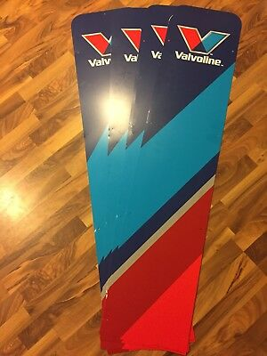"Lot Of 4 Huge Valvoline Promo Sign 63x13"" Inches Plastic Display Single Sided"