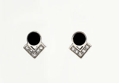 Silver 925 Onyx earrings Stud earrings with Swarovski Stones geometric a2-01496