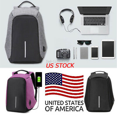 Anti-Theft Laptop Backpack Water Repellent Design USB Port Travel School Bags