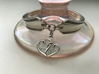 Vintage Fashion Antique Silver Plated Spoon Bracelet / ENTWINED HEARTS