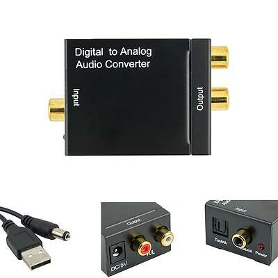 Toslink Signal Optical Coaxial Digital to Analog Audio Converter Adapter RCA AX