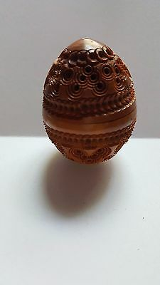 Antique Victorian Coquilla Nut Egg Hand Carved Needle Case