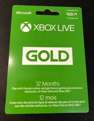 XBOX LIVE GOLD Membership Card  [ 12 Month ] (XBOX ONE / XBOX 360) NEW