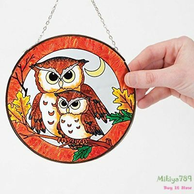 Hand Painted Owl Suncatcher Autumn Shade Window Display Stained Glass Hanging