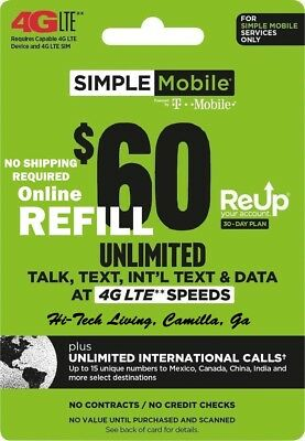 >Genuine<  $60 Simple Mobile Online Refill Re-Up No Shipping Required