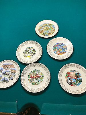 Lot of 6 Decorative, Souvenir State Plates small 7 inch