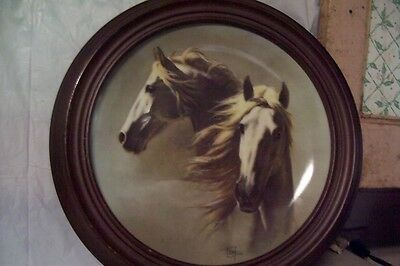 Fred Stone Collector Plate The Andalusian - horse - with wooden plate frame