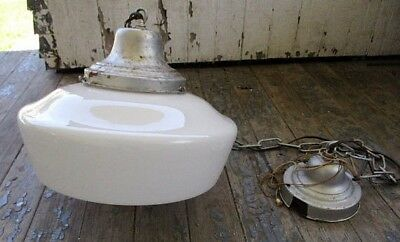 Vintage Industrial Domed White Milk Glass Hanging Lamp Schoolhouse Pendant Light